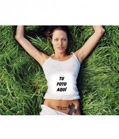 Con este fotoefecto saldrás en la camiseta de la sexy angelina Jolie