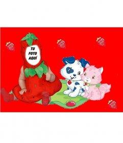 Disfraz virtual para niños de fresa con un fondo rojo y con perritos