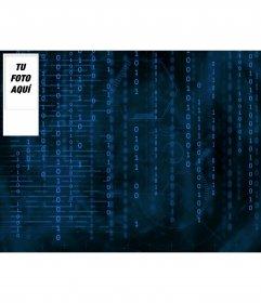 Fondo para twitter para hacer con tu foto con fondo de números binarios en color azul