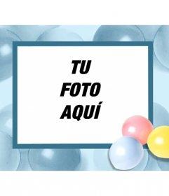 Postal de cumpleaños, con globos de colores, en el que podrás poner tu foto y enviarlos por email o imprimirlo