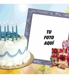 Marco para fotos con pastel de cumpleaños y regalos