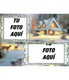 Tarjeta de Navidad en la que podrás poner dos fotos, fondo de pueblo nevado y unos ciervos