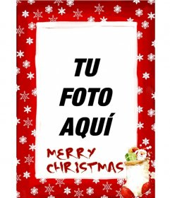 Marco para fotos de fondo rojo con cristales de nieve y motivos navideños con la que felicitar estas fiestas