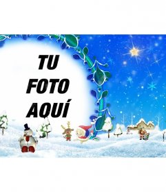 Marco para fotos floral con paisaje navideño nevado en el que podremos insertar una foto. Para imprimir o enviar por email