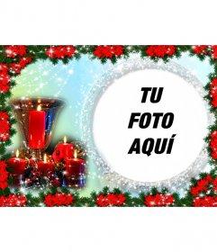 Postal navideña en la que poner una foto en un marco redondo rodeado de perlas brillantes