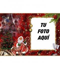 Elegante fotomontaje de Navidad y Santa Claus para añadir tu fotografía