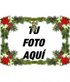 Marco para fotos con adornos de árbol de navidad que puedes utilizar como felicitación de Navidad