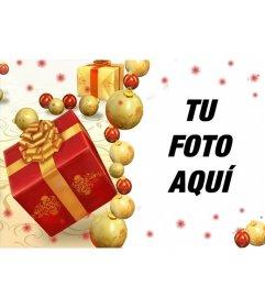 Tarjeta online de Navidad con regalos para añadir tu fotografía