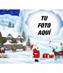 Postal de navidad con fondo de dibujo paisaje navideño