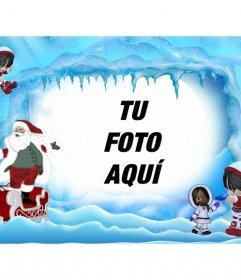 Postal de navidad, Santa Claus en paisaje helado. Donde puedes poner una foto online