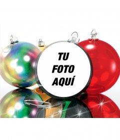 Postal de Navidad para poner tu foto en una bola de Navidad, muy divertido
