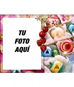 Tu foto en una postal estilo christmas rodeada de bolas