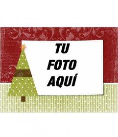 Postal de navidad para personalizar con una foto de tu elección con adorno de árbol navideño con una estrella