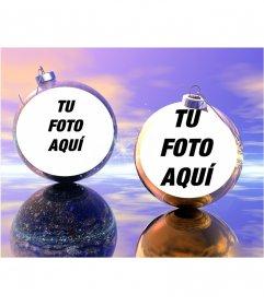 Divertido fotomontaje navideño en el que podrás poner dos fotos en unas bolas de Navidad. Ideal para enviar como felicitación
