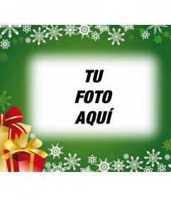 Postal navidad fondo verde con regalos para poner tu foto de fondo