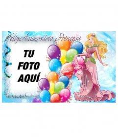 Montaje fotográfico para crear una postal para felicitar el cumpleaños de la princesa de la casa