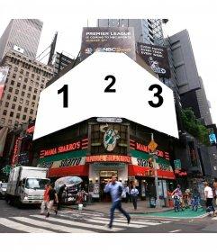 Montaje de Nueva York en la esquina de Mama Sbarros
