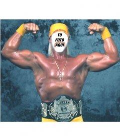 Montaje fotográfico para poner una cara en el cuerpo de Hulk Hogan demostrando su fuerza