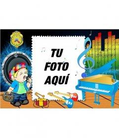 Marco para fotos en el que aparece un dibujo de niño cantando con un piano e instrumentos musicales