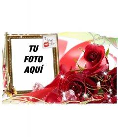 Tarjeta de amor para poner la foto que tu quieras con un cuadro con un postit con un beso y el texto I LOVE YOU!