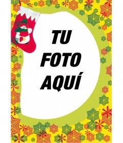 Marco para fotos, regalo de navidad con fondo de estrellitas rojas