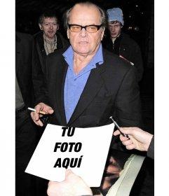 En esta fotomontaje pedirán a un famoso actor de Hollywood que firme tu fotografía