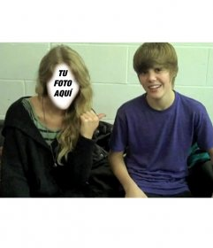 Fotomontaje de Justin Bieber jovencito con chica rubia para poner tu cara