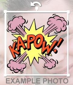 Sticker original de una explosión y la frase KA POW para pegar en tus fotos