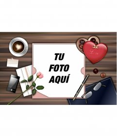 Postal de carta de amor para poner tu foto