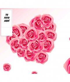 Fondo para twitter en el que podrás poner tu foto en el lateral junto con un fondo de rosas en forma de corazón
