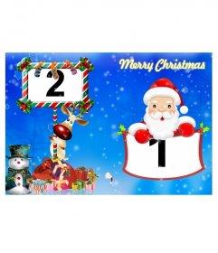 Postal azul de felicitación navideña con os emblemáticos Rudolf y Papá Noel para hacer con tus fotos