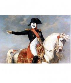 Fotomontaje con Napoleón Bonaparte montado en su caballo