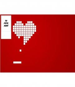 Fondo para twitter con tu foto, juega con mi corazón. Fondo rojo y un corazón pixelado