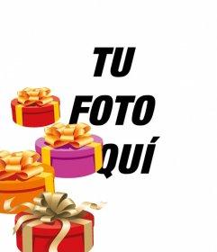 Haz tu postal de cumpleaños personalizada con una foto o imagen. Este montaje incluirá en ésta cuatro cajas de regalos pintadas en perspectiva, con lazos color oro