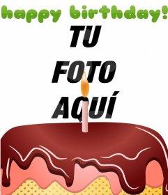 Postal de cumpleaños  con un pastel y happy birthday en color verde