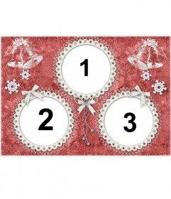 Postal de navidad para 3 fotos con marcos redondos y campanas de navidad