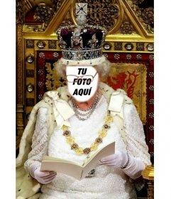 En este fotomontaje serás la Reina Isabel de Inglaterra  sentada en su trono real