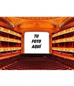 Collage con el escenario de un teatro