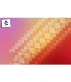 Fondo para twitter de colores naranja y lila a cuadrados abstractos. Personalizalo con tu foto