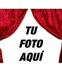 Se abre el telón. Fotomontaje con el que decorar tu fotografía con unas cortinas de teatro abiertas. curioso adorno