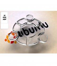 Fondo de pantalla para twitter con el Logo de Ubuntu efecto cristal de fondo en el que podrás poner tu foto