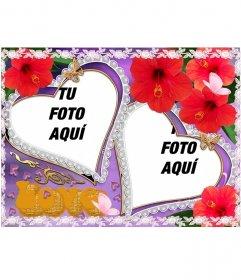 Composición de dos marcos para fotos en forma de corazón, aparecen flores y mariposas. Ideal para representar el amor de una pareja. Fondo violeta