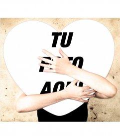 Fotomontaje para abrazar a una foto en forma de corazón