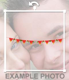 Pegatina online de guirnalda roja para decorar tus fotos de navidad