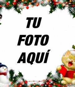 Marco de Navidad para poner tu foto con un gatito cantando
