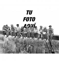 Fotomontaje con la famosa fotografía Almuerzo sobre un rascacielos