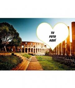 Postal con un fondo del anfiteatro de Roma para tu foto