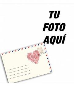 Fotomontaje de una carta de amor para modificar con tu foto online