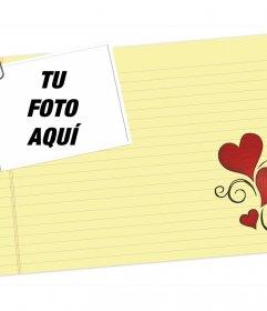 Carta de amor que puedes editar subiendo alguna de tus fotos e imprimir