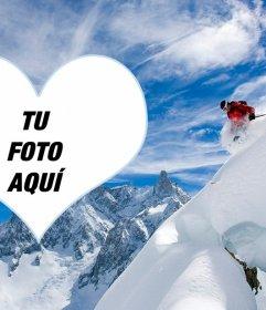 Marco de fotos de un esquiador para poner tu foto en un corazón